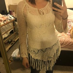 3/4 sleeve bohemian cover up top.